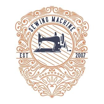 Máquina de costura de ilustração vintage com ornamentos