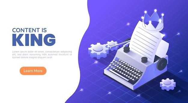 Máquina de escrever 3d isométrica web banner com uma coroa e uma folha de papel no fundo gradiente azul. conteúdo é rei e conceito de marketing.