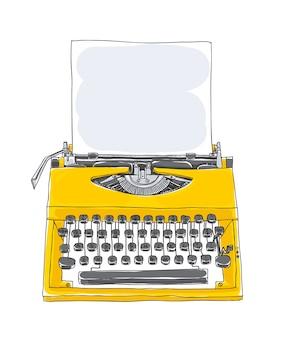 Máquina de escrever amarela velha mão desenhada vector