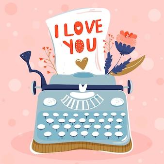 Máquina de escrever com folha de papel e flores. ame .
