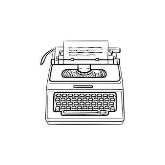 Máquina de escrever com ícone de doodle de contorno desenhado de mão de papel. escrita e autoria da história, conceito de equipamento do escritor