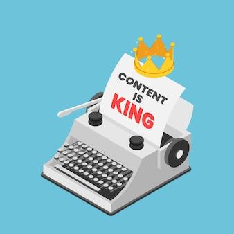 Máquina de escrever isométrica 3d plana com uma coroa e palavras, conteúdo é rei na folha de papel. conceito de marketing de conteúdo.