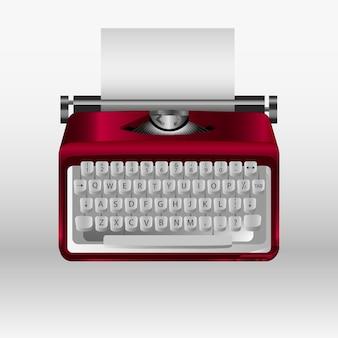 Máquina de escrever retrô com folha de papel branco. modelo 3d