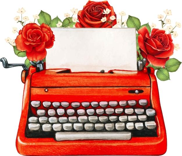 Máquina de escrever vermelha aquarela vintage e rosas