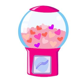 Máquina de goma de mascar com corações romântica máquina de venda automática com corações