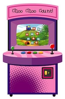 Máquina de jogo com contagem de número em fundo isolado