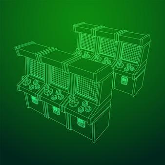 Máquina de jogo retro arcade. ilustração em vetor malha poli baixa wireframe. Vetor Premium
