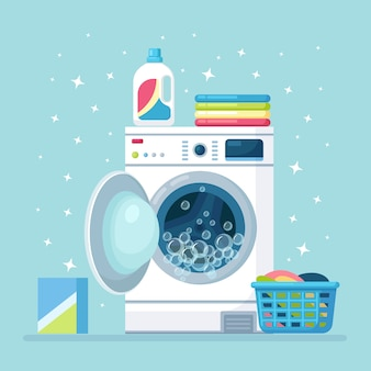 Máquina de lavar aberta com roupa seca na cesta e detergente. equipamento eletrônico para lavanderia.