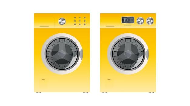 Máquina de lavar amarela isolada em um fundo branco. máquina de lavar roupa de vetor realista.