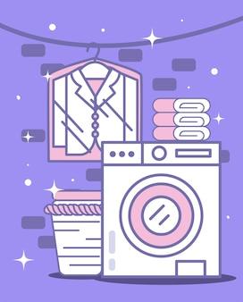 Máquina de lavar com ícones de lavanderia