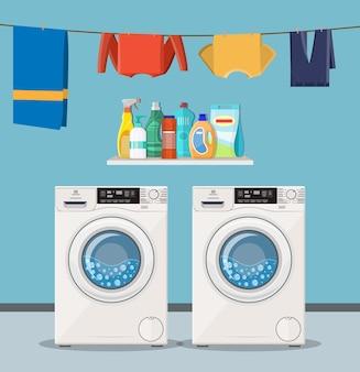 Máquina de lavar com ícones de serviço de lavanderia