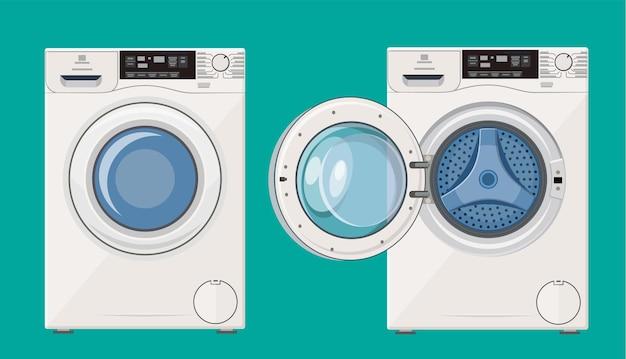 Máquina de lavar com porta aberta e fechada