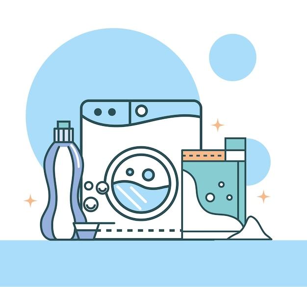 Máquina de lavar e detergente