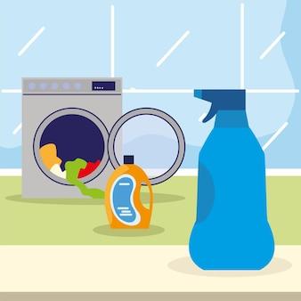 Máquina de lavar e spray