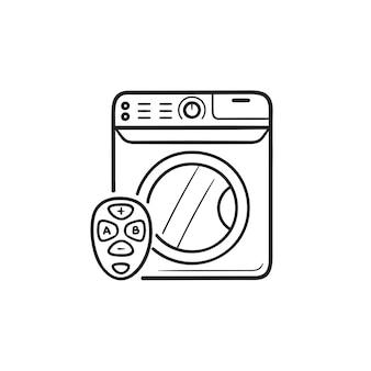 Máquina de lavar inteligente com ícone de doodle de contorno desenhado de mão de controle remoto. conceito de lavanderia para casa inteligente