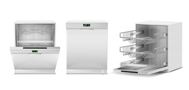 Máquina de lavar louça 3d realista com a porta aberta, fechada, display digital