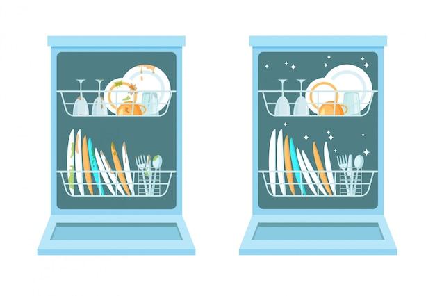 Máquina de lavar louça aberta com pratos limpos e sujos.
