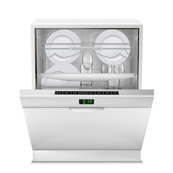 Máquina de lavar louça com display digital, com porta aberta, cheia de pratos limpos