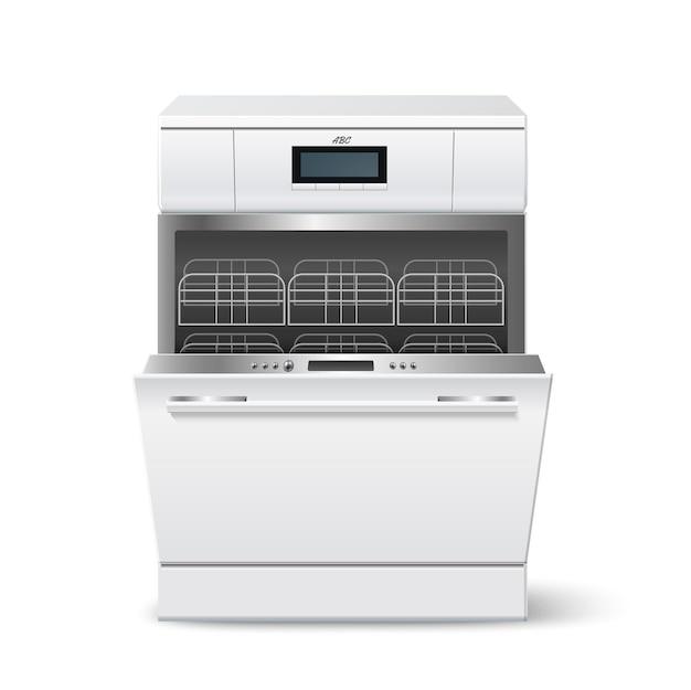 Máquina de lavar louça de cozinha realista carregada com prateleiras vazias e porta aberta.