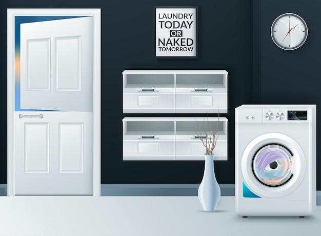 Máquina de lavar moderna realista na lavanderia vazia