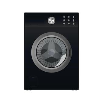 Máquina de lavar preta isolada em um fundo branco. máquina de lavar roupa de vetor realista.