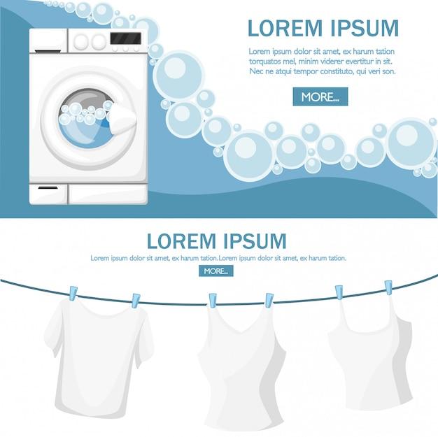Máquina de lavar roupa a trabalhar. eletrodomésticos brancos. água e bolhas de sabão. roupas secas em uma corda. ilustração em fundo branco. lugar para texto. página do site e aplicativo móvel