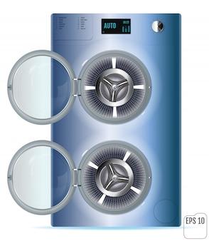 Máquina de lavar roupa aberta em aço azul