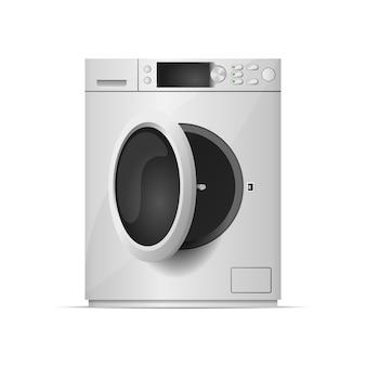 Máquina de lavar roupa com porta aberta realista. lavadora moderna com tela sensível ao toque