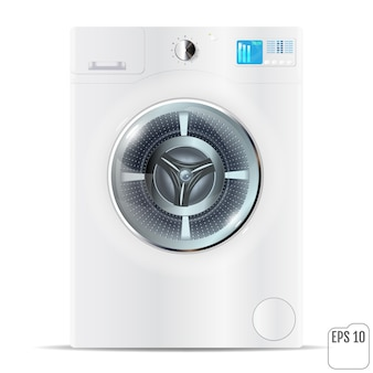 Máquina de lavar roupa de carga frontal branco isolada no branco