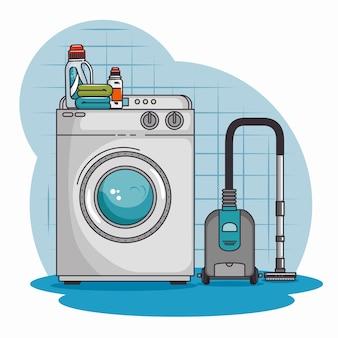 Máquina de lavar roupa e aspirador de pó