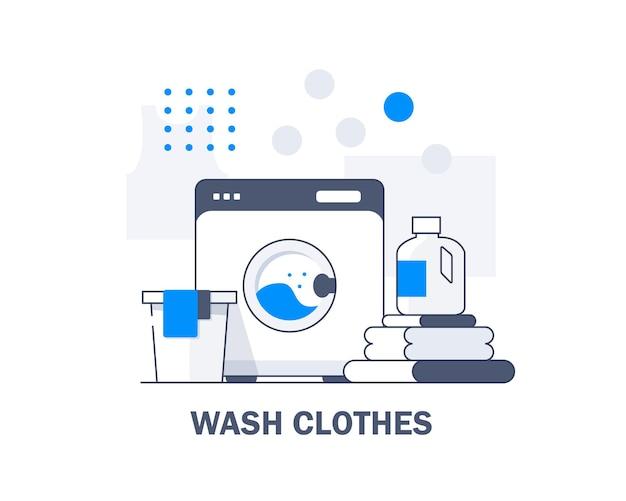 Máquina de lavar roupa e toalhas de linho isoladasequipamento doméstico serviço de lavanderia lavar roupas