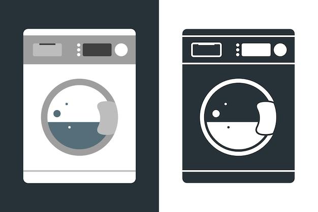 Máquina de lavar roupa em estilo simples e ícone. isolado sobre fundo azul. ilustração vetorial moderna