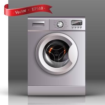 Máquina de lavar roupa em vista frontal sobre o fundo cinza