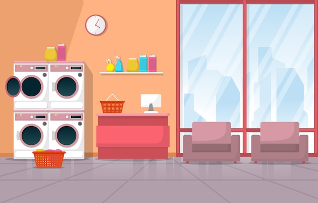 Máquina de lavar roupa limpa lavanderia ferramentas de lavanderia interior moderno