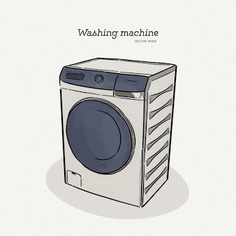 Máquina de lavar roupa, mão desenhar croqui