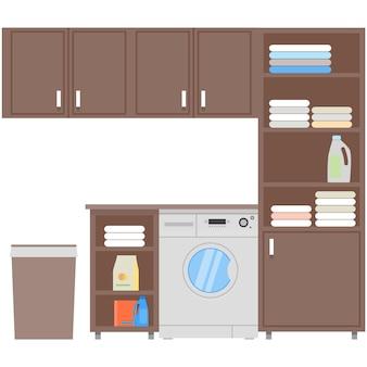 Máquina de lavar roupa no interior do vetor plano da lavanderia