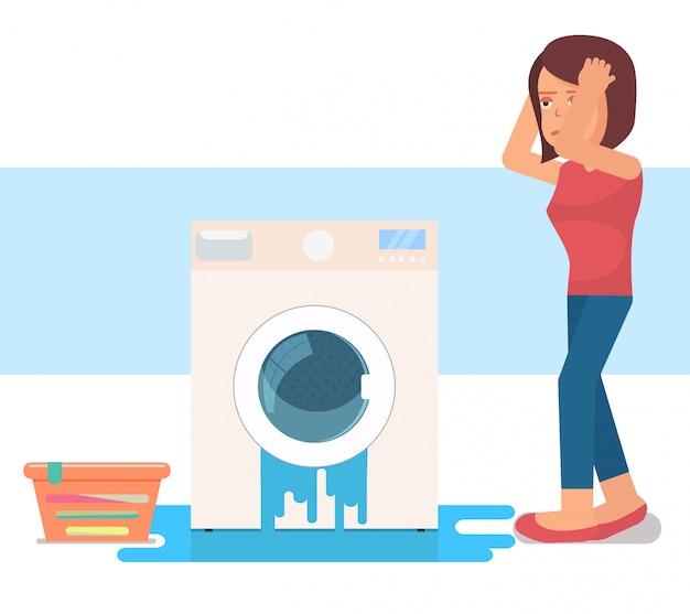 Máquina de lavar roupa quebrada