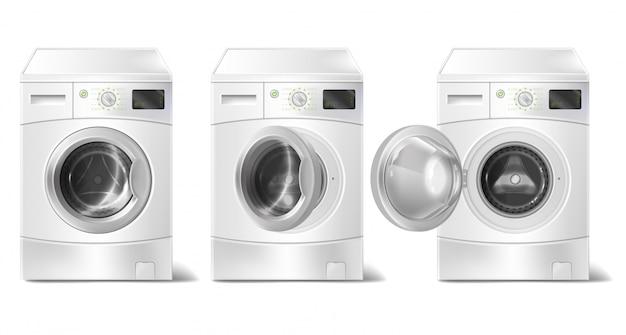 Máquina de lavar roupa realista com carregador frontal e visor inteligente