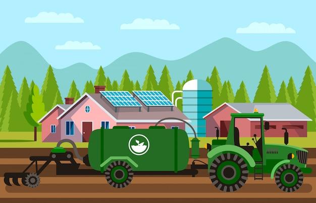 Máquina de lavoura de solo em ilustração vetorial de campo
