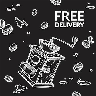 Máquina de moagem de entrega gratuita e banner de feijão