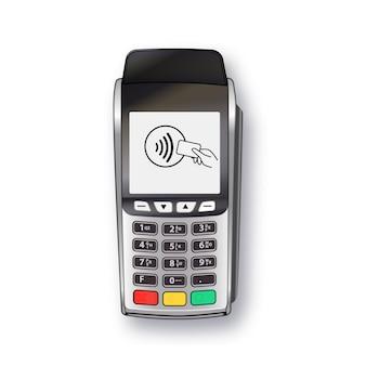 Máquina de pagamento pos terminal banco pagamento terminal projeto modelo maquete vetor prata realista é ...