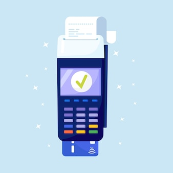 Máquina de pagamento. terminal pos confirma o pagamento por cartão de débito, fatura. processo de aprovação de transação inserido cartão de crédito, cheque. conceito de pagamentos nfc