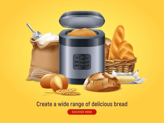 Máquina de pão realista com texto de botão descubra mais e composição de comida caseira