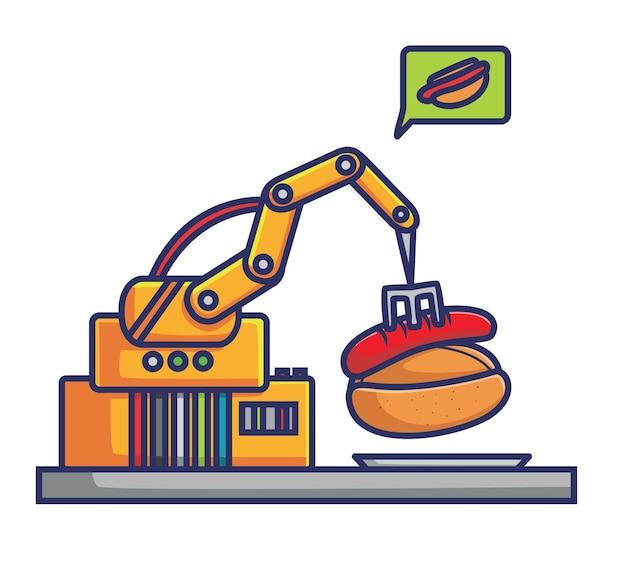 Máquina de pinças de robô fazendo cachorro-quente plano desenho animado estilo ilustração ícone premium vetor logotipo mascote