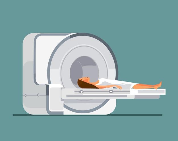 Máquina de ressonância magnética com paciente.