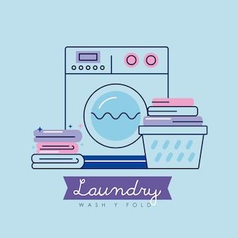 Máquina de serviço de lavanderia e ícones