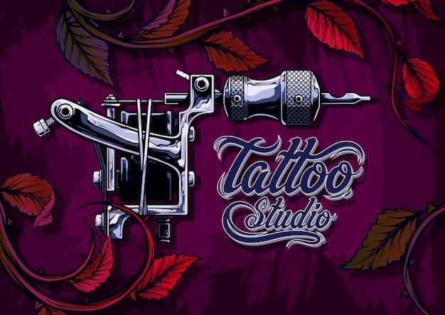 Máquina de tatuagem de metal preto e branco gráfico