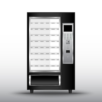 Máquina de venda automática alimentos e bebidas de venda automática, 3d realista da máquina de venda automática de conveniência de serviço.