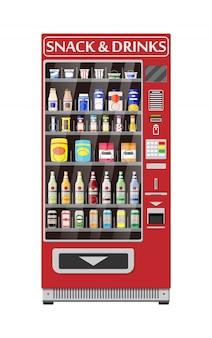 Máquina de venda automática com alimentos e bebidas.