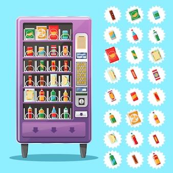 Máquina de venda automática com lanches e bebidas